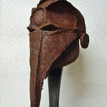 Antique Metal Helmet / Mask - Fine Art