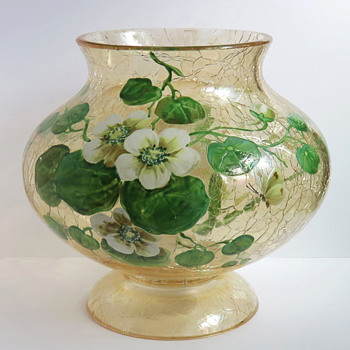 Moser Topaz Crackle Bowl with Nasturtiums - Art Glass