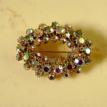 D and E for Juliana Iridescent Brooch - Costume Jewelry