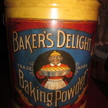 Antique Baker's Delight Baking Powder Tin - Kitchen
