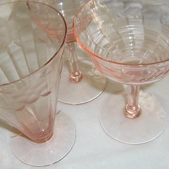 Pink Elegant or Depression Ware glass Grandmother's wedding 1930 - Glassware