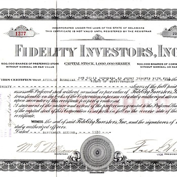 Fidelity Investors Inc 1930 Preferred Certificate
