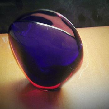 "1954 Flavio Poli Valva Vase ""Ruby/Blue - Art Glass"