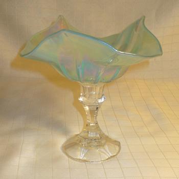 Intaglio glass compote.