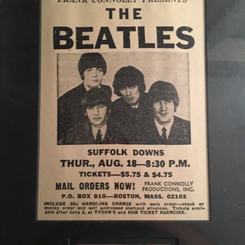 Beatles ticket-Suffolk Downs-1966 - Music Memorabilia
