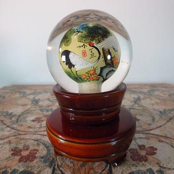 CHINESE HAND PAINTED INSIDE REVERSE ART GLASS GLOBE - Art Glass
