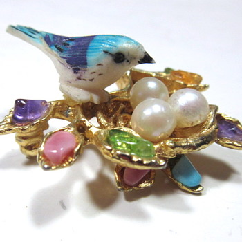 CIRO Bird in the Nest Brooch with Genuine Pearl Eggs - Costume Jewelry