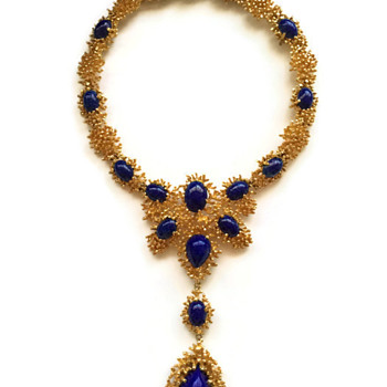 Panetta Lapis Lazuli Cabochon Free Form Gold Necklace - Costume Jewelry