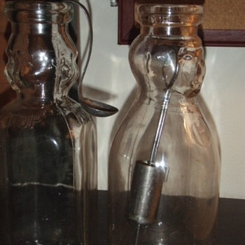 Cream Top Milk Bottles, Cream Dipper, and Cream Spoon - Bottles