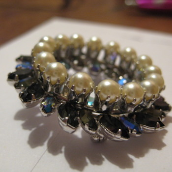 SHERMAN the Circle of Life in shades of Blues & Pearls - Costume Jewelry
