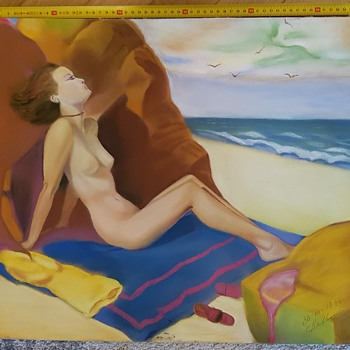 Lady on beach sunbathing painting 1945 - Fine Art