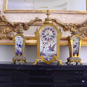 1800 ASIAN FRENCH CLOCK W MATCHING STANDS  - Asian