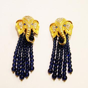 """Vintage Elizabeth Taylor for Avon """"Elephant Walk"""" Earrings - Costume Jewelry"""