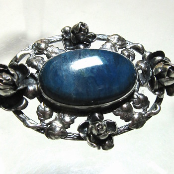 Antique Arts & Crafts Style Sterling Silver & Blue Stone Brooch Germany - Arts and Crafts