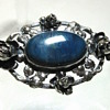 Antique Arts & Crafts Style Sterling Silver & Blue Stone Brooch Germany