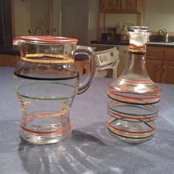 Striped Glass Pitcher / Decanter - Glassware