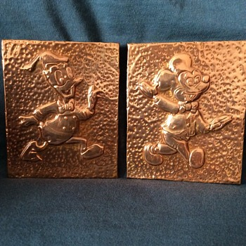 Copper/Brass Mickey and Donald.  - Advertising
