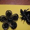 WEISS Jappaned & Rhinestone BEE & FLOWER brooch
