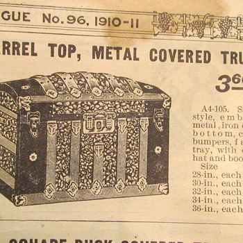 1910-1911 Catalog Trunk Page Names, Sizes, Interior Parts list - Furniture
