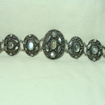 Antique Silver Moonstone Bracelet