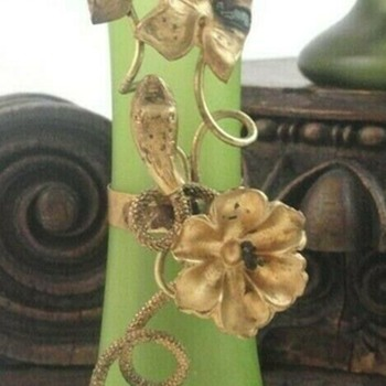 A Simplistic Bohemian Art Glass Vase with Floral & Serpent Decoration - Art Glass