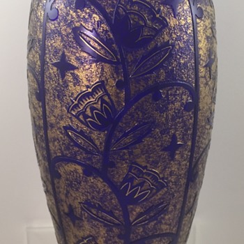 Acid etched vase, Johann Oertel & Co., Glass Refinery Haida, ca. 1920-1925 - Art Glass