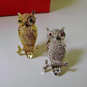 Trifari Owl Pins - Costume Jewelry