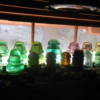 Some Color Filled Glass Insulators and Glass Bottles - Bottles