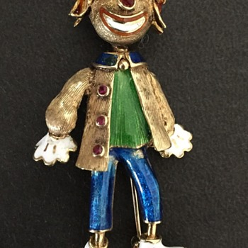 Vintage 14K Ruby Clown Figural Brooch - Fine Jewelry