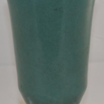 Vintage Large Blue Green Glaze Vase Unknown Maker or Type of Pottery  - Pottery
