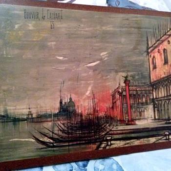 Bouvier de Cachard Venice print on board 1965