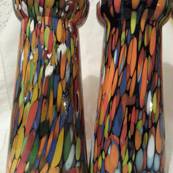 Pair Czech Spatter Hyacinth? Vases! - Art Glass