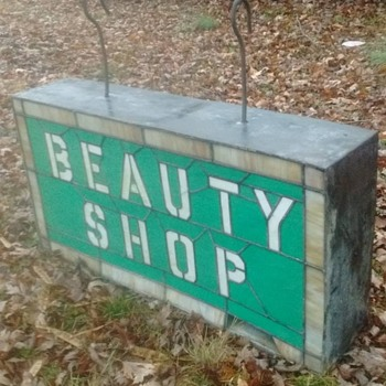 Double Sided Stained Glass Beauty Shop Sign  - Signs