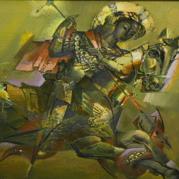 Saint George and the Dragon, Surrealism, Oil on Canvas, Russian ??, Circa 1993 - Fine Art