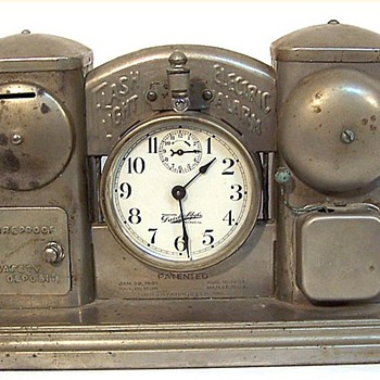 Darche Mfg. Alarm Clock Bank Pat. 1889 ~ 1908 - Clocks