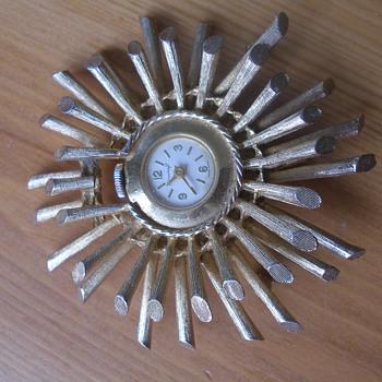Corocraft Clock Brooch Pin - Costume Jewelry