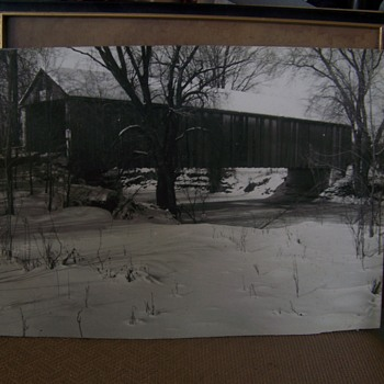 Unknown Covered Bridge Photograph, Written on back CRIME LAB ?????  - Photographs