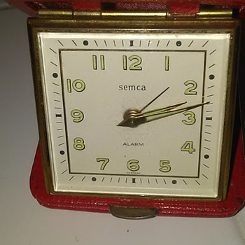 And another little German red leather clock  - Clocks
