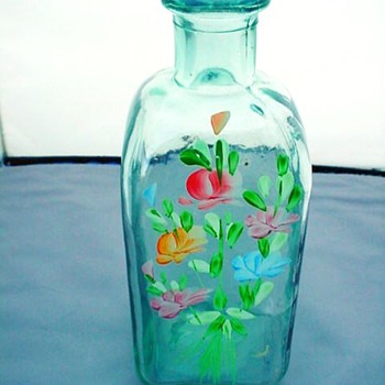 Old Handblown Square Bottle - Bottles