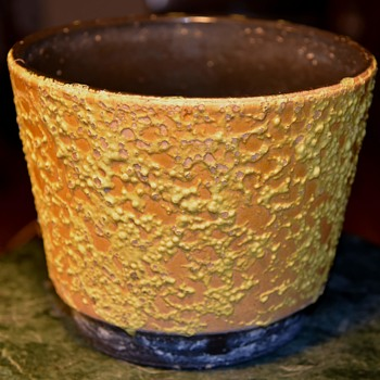 Orange and Yellow Lava Planter - unsigned - Pottery