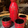 Bright Red Sake Set - New, i think
