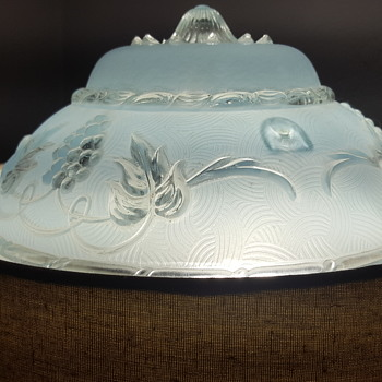 a frosted pale blue ceiling shade Art Deco - Art Deco
