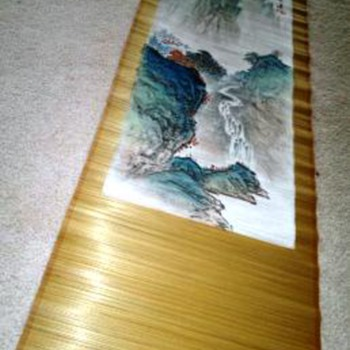 Chinese  painted bamboo scroll
