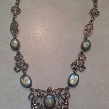 Todays Find F. Pini. Signed Sterling Moonstone Necklace  - Fine Jewelry