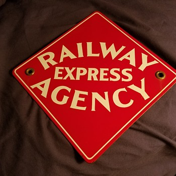Railway Express Agency sign - Railroadiana