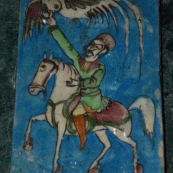 Persian Tile w/ Falconry Scene - Pottery