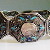 Antique Chinese Rose Quartz Enamel Filigree Panel Bracelet