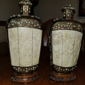 Antique 11 inch Bone carved snuff bottles - Asian