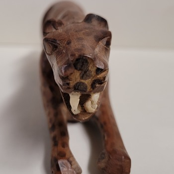 Wood Carved Cheetah  - Folk Art