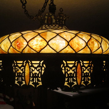Slag chandelier electrified with original gas works. - Lamps